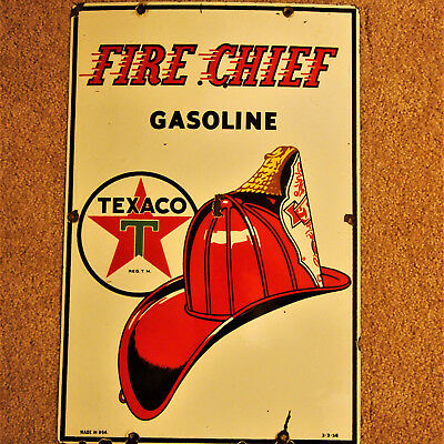 Original 1953 TEXACO Fire Chief Gas Pump Plate Porcelain Sign,Gas & Oil, vintage