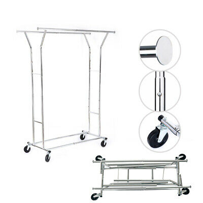 Collapsible Adjustable Double Rail Clothing Garment Rack Hanger Rolling Metal