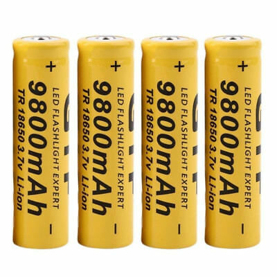 4Pcs 3.7V 18650 9800mah Li-ion Rechargeable Batterie Für LED Flashlight Torch