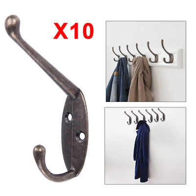 10X Classic Antique Industrial Vintage Cast Iron Style Double Coat Hook Zinc
