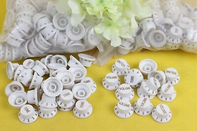 12 x White Electric Guitar Control Knobs Volume & Tone Fit Strat Stratocaster