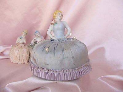Antique Porcelain Half Doll Pin Cushion Vintage Deco Lady Figure #1