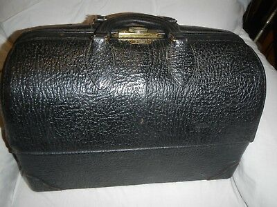 Vintage 50's Doctors Bag Emdee Schell Black Leather VG Condition Cantilever