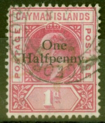 Cayman Islands 1907 1/2d on 1d Carmine SG17 Fine Used