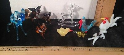 Lot of 10 Vintage Hand-Blown Glass Miniature Animals / Figurines Collectible Art