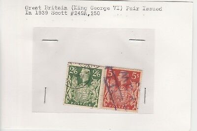 GB 1939 King George VI stamps on old approval card Scott # 294A & 250