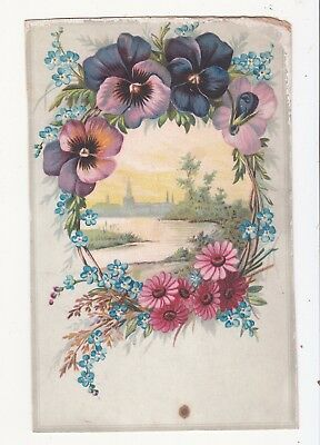 Lion Coffee Woolson Spice Toledo OH Pansies River Steeple Vict Card c1880s