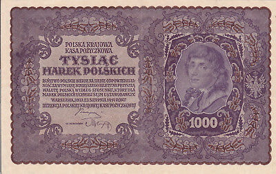 1000 Marek Vf Banknote From Poland 1919!pick-29!huge Sized