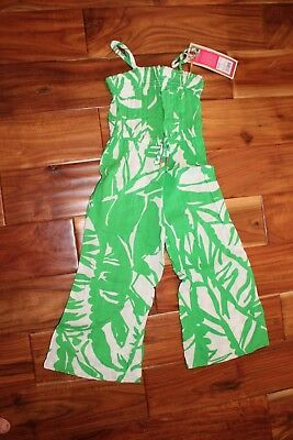 Girls Lilly Pulitzer Green White Romper Jumpsuit Outfit XS 4 5 4T New w/ Tags