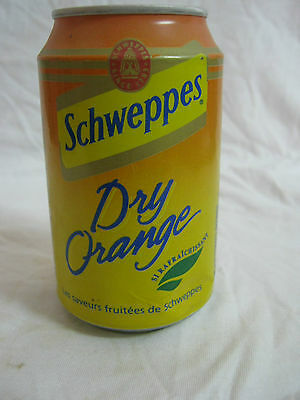 Schweppes  dry orange : a 330 ml  empty  can, france 1997