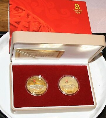Beijing 2008 Olympic Venues Twin Commemorative Medallion ° 2 Gold Medaillen OVP