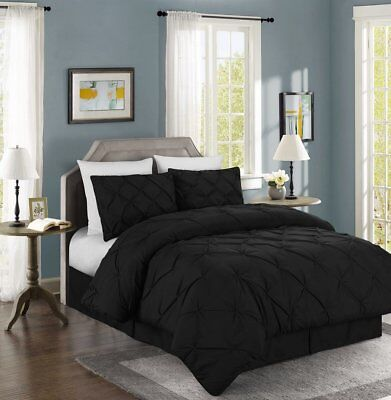 Chezmoi Collection Luxurious Black Pintuck Pinch Pleated Comforter Set