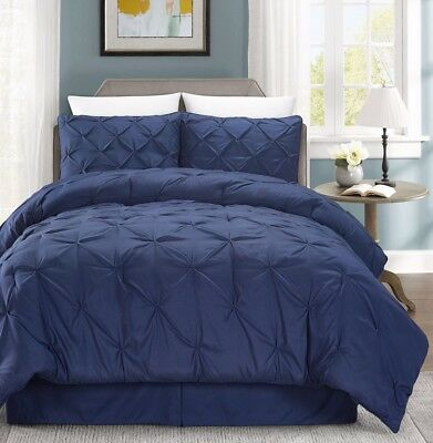 Chezmoi Collection 3-Piece Luxurious Navy Pintuck Pinch Pleated Comforter Set