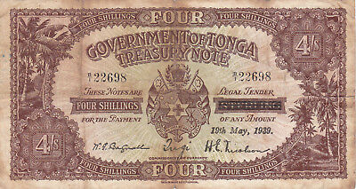 4 SHILLINGS FINE BANKNOTE FROM BRITISH TONGA 1939!PICK-5b!OVERPRINTED ISSUE!RARE
