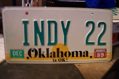 Car  Tag Personalized Indy 22   Oklahoma  Ratrod Chevy. Ford  Bbf Low Rider Oil