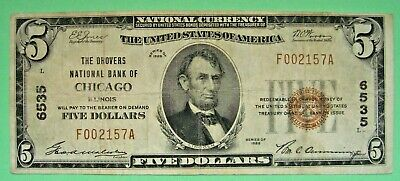 1929 $5. T1 THE DROVERS NATIONAL BANK OF CHICAGO ILLINOIS IL Charter # 6535