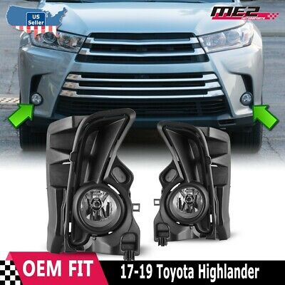 2017 2018 Toyota Highlander Fog Light Kit w/ Wiring, Switch, and Bezels