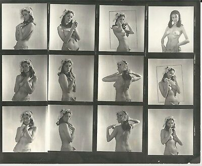 Hendrickson Contact Sheet Proof & Negatives Sultry Topless Model Lace Bonnet