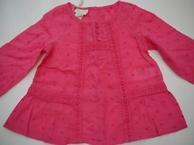 Monsoon baby girls pink summer embroidered flowers flowery blouse 3 - 6 mths