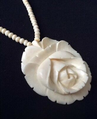 Beautiful c1930's Hand Carved Floral / Flower Pendant On Carved Bead Necklace.