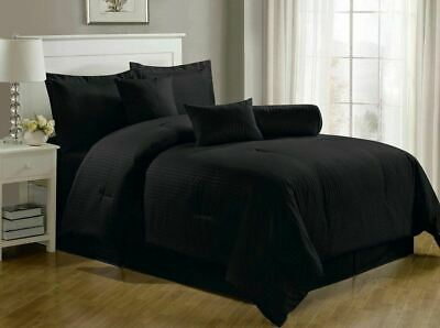 Chezmoi Collection Lex 7-Piece Solid Black Hotel Dobby Stripe Comforter Set