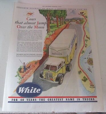 1941 original ad White Trucks Dairy Products Transported Through Countryside