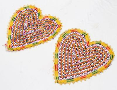 Pair Of Vintage Rabari Fine Hand Embroidery Old Ethnic Tribal Mirror Patches