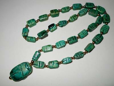 Vtg Art Deco Egyptian Revival Carved Blue Faience Scarab Beetle Bead Necklace