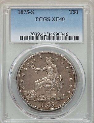 U.s.  1875-S  Trade Silver Dollar, Extremely Fine, Pcgs Certified Xf-40