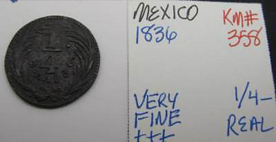 Mexico 1836 1/4-Real! Very Fine+++! Km# 358! Really Nice Type Coin! Look!