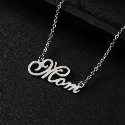 Silver Stainless Steel Letter Mom Dad Forever Love Heart Pendant Necklace Gift