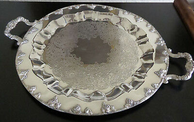 "Large Vintage Round Silver Plate Serving Tray 20"" Silver On Copper Grape Design"