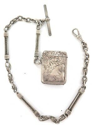 c1889 HEAVY SET FANCY LINK ENGLISH STERLING SILVER FOB CHAIN + 1908 SILVER VESTA
