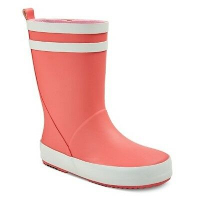 Cat & Jack Baby Toddler Girls Ola Solid Rain Boots Pink/Wht 5/6  7/8  9/10 11/12