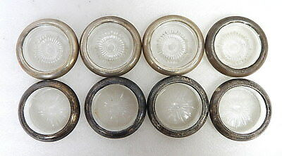 Set Of 8 Antique Frank M Whiting Cut Glass w Sterling Silver Rim Coasters Deco