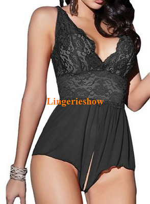 Plus Size Lingerie S-5XL Sexy Lace Babydoll Nightwear Crotchless Jumpsuit Teddy