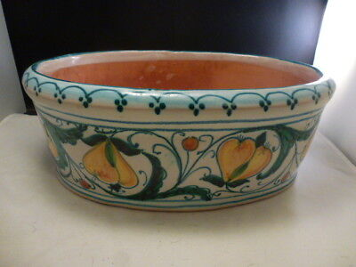"Fratantoni for Vietri Italy Terracotta Oval  BOWL  Artist Signed 12 3/4 ""  FRUIT"