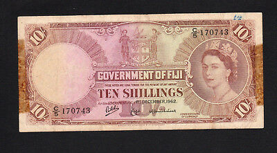 Fiji 10 Shillings (1962) P52c C/5 170743 GOOD FINE
