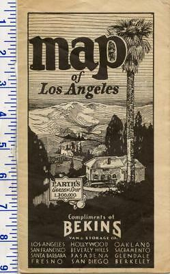 Antique Vintage 1932 Bekins Van & Storage Map of Los Angeles California