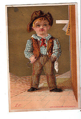 Boy in Britches & Hat Express Sidewalk No Advertising Vict Cards c 1880s
