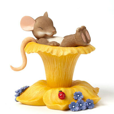 Charming Tails Beautiful Dreamer Mouse Resting on Flower Pedals Figurine