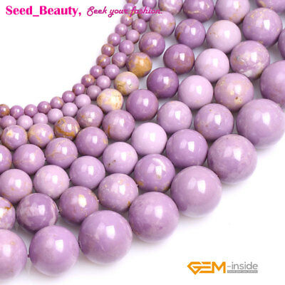 Natural Purple Phosphosiderite Stone Round Beads for Jewelry Making Strand 15""