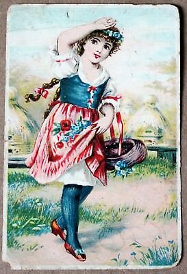 German 19th Century Girl w/ Basket Victorian Meissner's Soap Advertisement Card