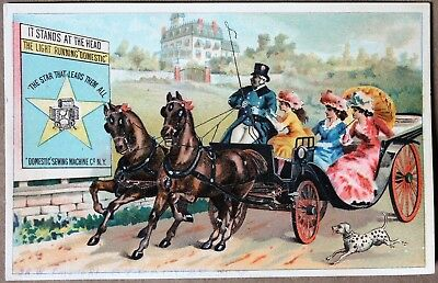 Beautiful Victorian Domestic Sewing Machine Co. Color Advertisement Card Stamped