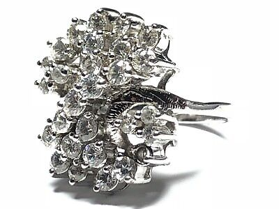 Beautiful Ladies Sterling Silver CZ Cluster Ring - Signed ND - Size 7.25 - Wow!