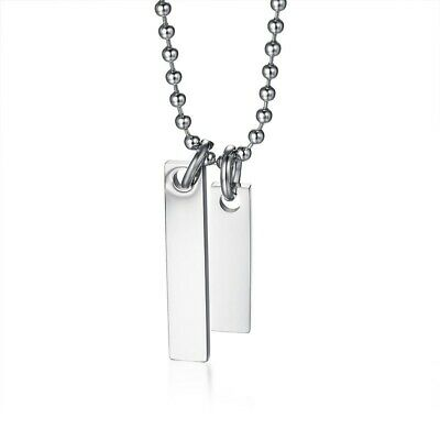Stainless Steel Double Rectangular Bar Pendant & Necklace - Free Engraving
