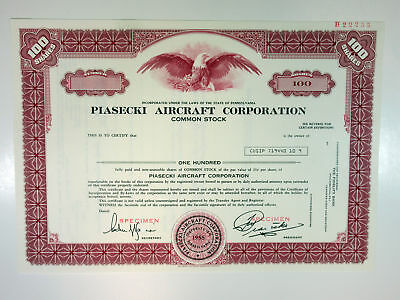 PA. Piasecki Aircraft Corp, 1960s 100 Shrs Specimen Stock Certificate, XF-Maroon