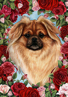 Large Indoor/Outdoor Roses Flag - Sable Tibetan Spaniel 19477