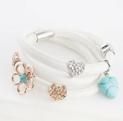 THE ENDLESS STORY 063 Magnet Leder Wickel Armband mit Beads Charm Weiß 54cm
