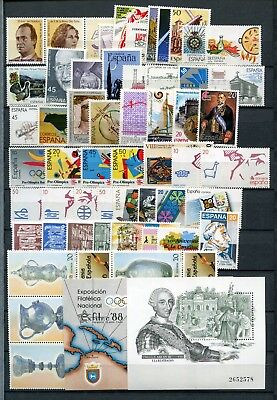 SPAIN 1988 COMPLETE YEAR MNH Stamps  & SHEETS 52 Items